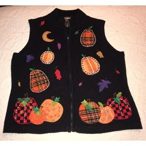 Vintage Fall/Halloween Pumpkin Sweater Vest
